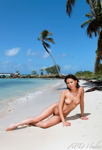 Moist uncovered Oriental Li Mei roams the beach as photos are snapped