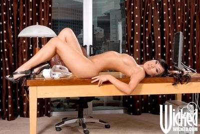 Huge titted Chinese queen Asa Akira is shamelessly playing with the smooth on top bawdy cleft
