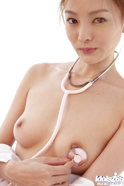 Fascinating Chinese nurse in  Ray Ito striptease and pleasant shower-room