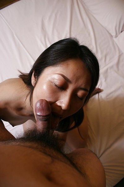 Close up dick sucking from an Eastern housewife Hisako Kawaguchi to her stud