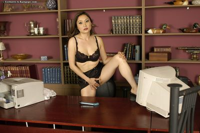 Gigantic titted asian lady Lacey Tom toys her shiny on top deviant love-cage on the office desk