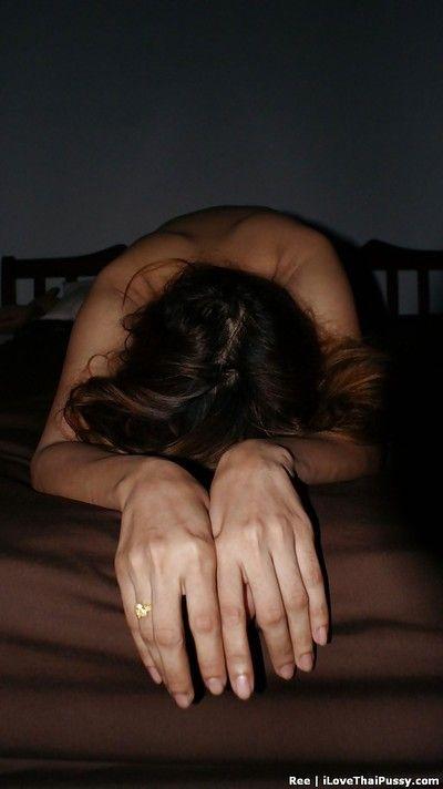 Titsy Thai princess Ree exhibiting wavy uterus on sofa sooner than playing with dick
