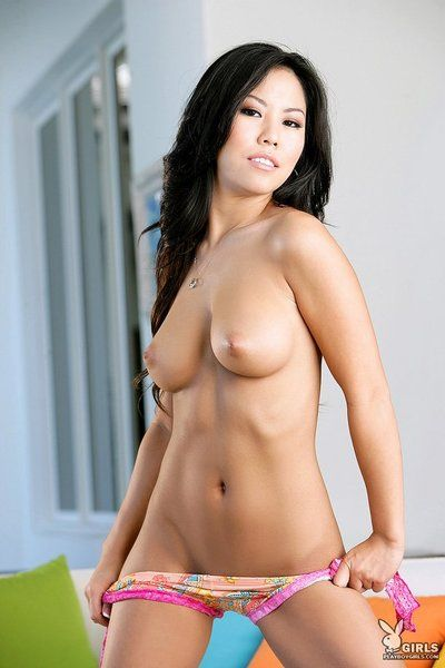 Raven haired eastern cutie Rochelle Minami with huge zeppelins and stunning smile gets undressed unclothed