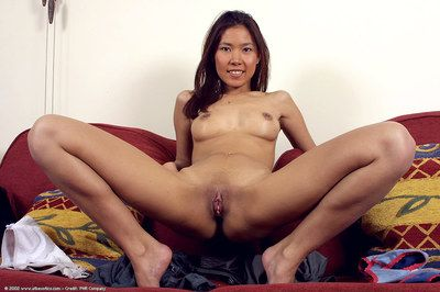Oriental 1st timer Luxi revealing diminutive boobs and near smooth on top cum-hole
