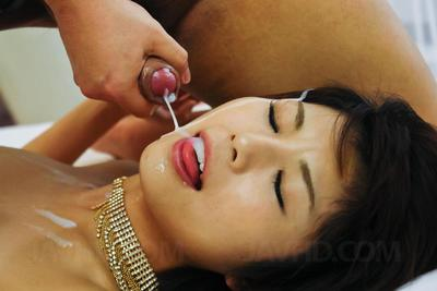 Fabulous Chinese Azumi Harusaki accepts caught up in groupie and accepts full of sperm shots