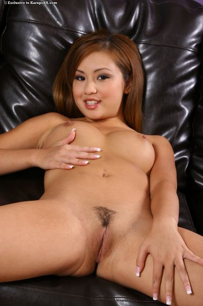 Skinhead gentile oriental Tia Tanaka gets undressed not including her suit and belt shorts