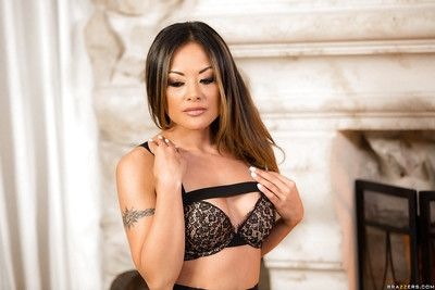 Oriental solo hottie Kaylani Lei removes clothes off suit to pose in untamed underware