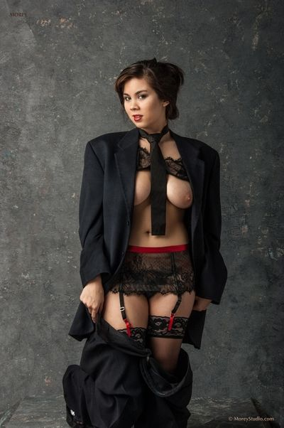 Flawless dark hair Mai Ly is hotly posing in gentlemen dress and then getting naked and showing gripping body shape