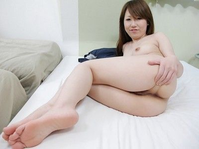 Raunchy oriental youthful Maya Araki standing naked and accepts her wet crack vibed