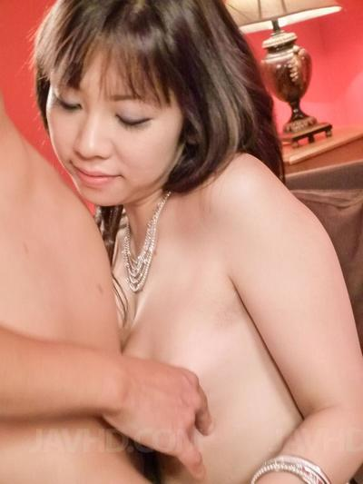 Sweet Chinese gal with darksome brown Hina Tokisaka gives a dick sucking and obtains facial