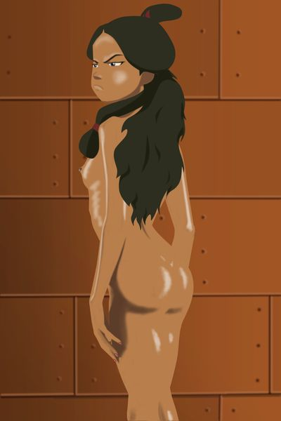 Chocolate-skinned darling from the sketch looks marvelous clammy
