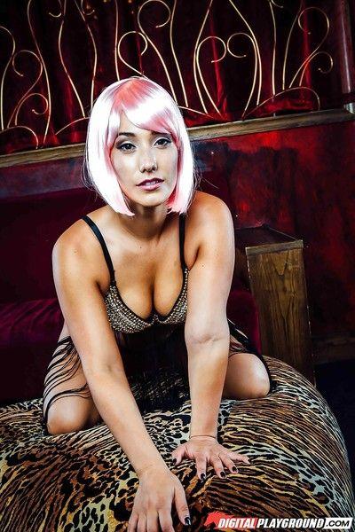 Japanese sample Eva Lovia peeling off extreme sexy pants to pose bare in high heels