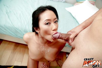 Japanese number one timer Amber obtains on knees to kick gigantic pecker and blow sperm