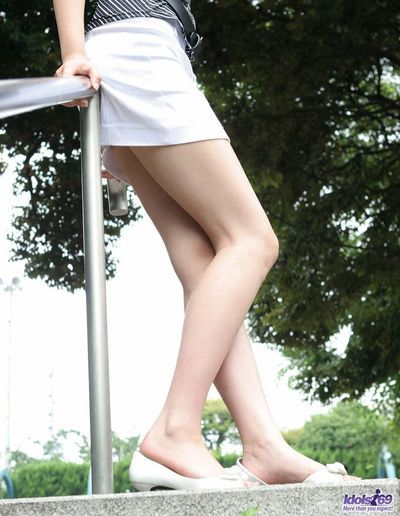 Fabulous and untamed amateur Japanese honey Yuu Idols is delicious off her untamed petticoat and showing off stiff..