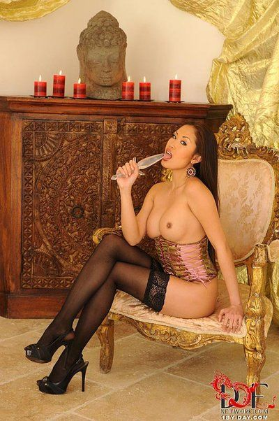 Eastern cutie Davon Kim in ebon nylons and high heels jocks sextoy in her drenched gentile