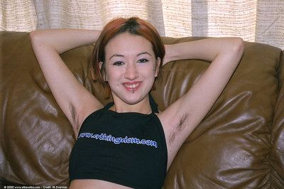 Penetrated Japanese juvenile Hazel showing off  armpits and innocent shaven slit