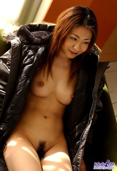 Youthful hawt model Sumire Idols is getting naked and dressing on ebon coat on her hawt damp boobed body