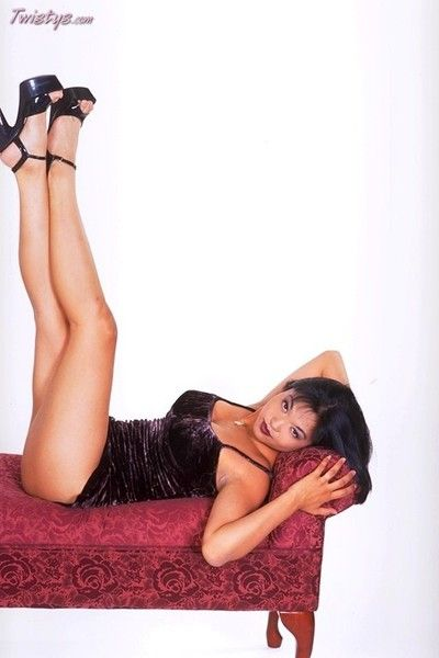 Japanese doll Mika Tan way on the mattress erotic dance and dildoing her ache slit.