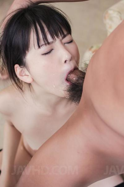 Miniscule sexually excited brunette hair Tsuna Kimura sucks 2 raw dongs and obtains clammy facial