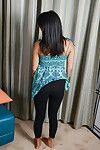 Sprightly oriental adolescent getting naked and exposing her smooth on top love holes