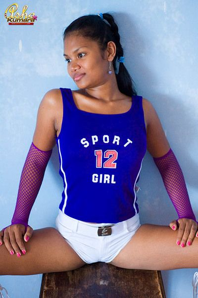 Asha Kumara takes wanting her sporty outfit and shows her chest