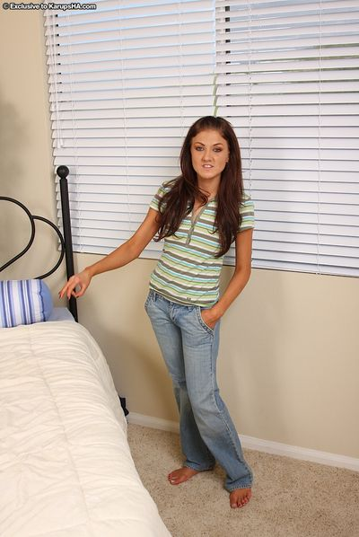Tight brunette Mia Rose everywhere shaved snatch removes will not hear of jeans plus give one\