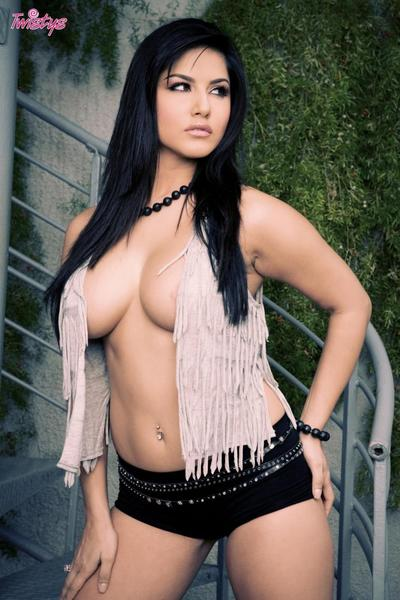 Lusty brunette babe Translucent Leone flashes her perfect full breast and pussy bush