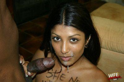 Indian floozy black branded interracial blowjob cum