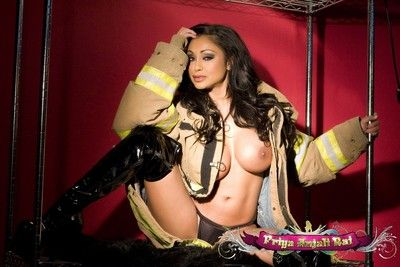 Gorgeous busty Indian, Priya Anjali Rai, sets the camera on animation in will not hear of naughty firefighter outfit..