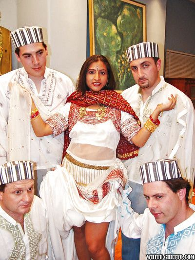 Indelicate indian lassie has a loose groupsex not far from four well-hung guys