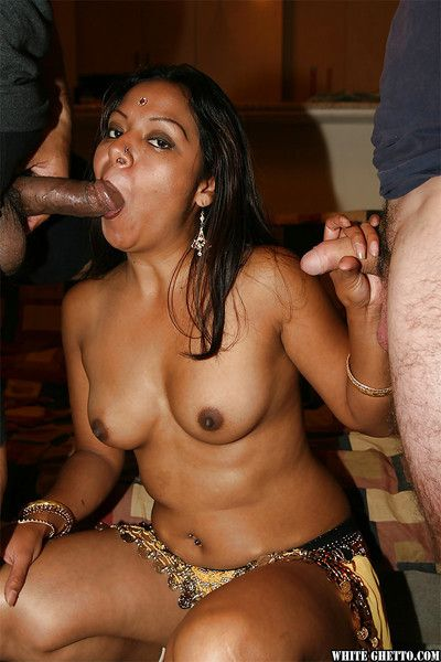 Slutty indian chick with petite ass is come into possession of groupsex with one guys