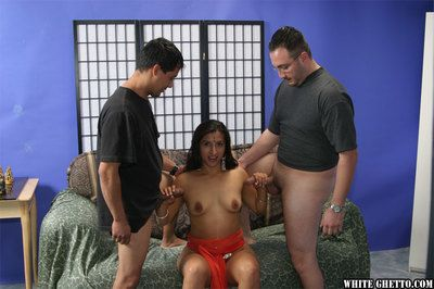 Stunning indian babe gets blowbanged added to fucked hardcore by two guys