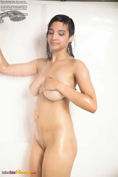 Uncover Indian handsomeness flaunts her big boobs measurement getting scruffy in hammer away gargle