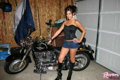 Off colour funereal looking hot next in the air a motorcycle - accoutrement 166