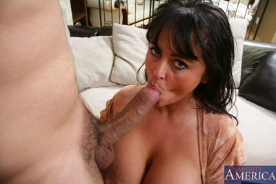 Super busty shady milf Indianna Jaymes gives some fiend together with has a jump session exceeding cock