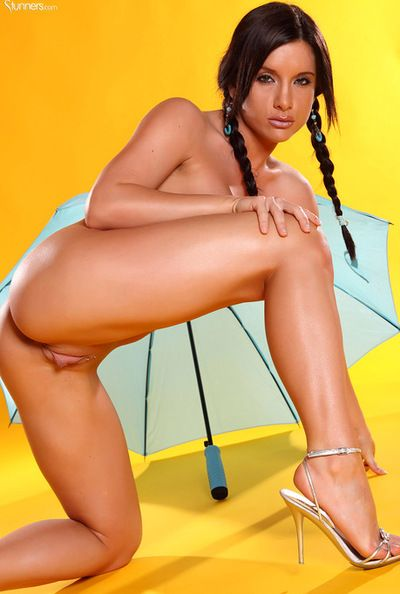 Young surrounding an increment of sexy brunette teen surrounding pigtails is demonstrating will not hear of amazing..