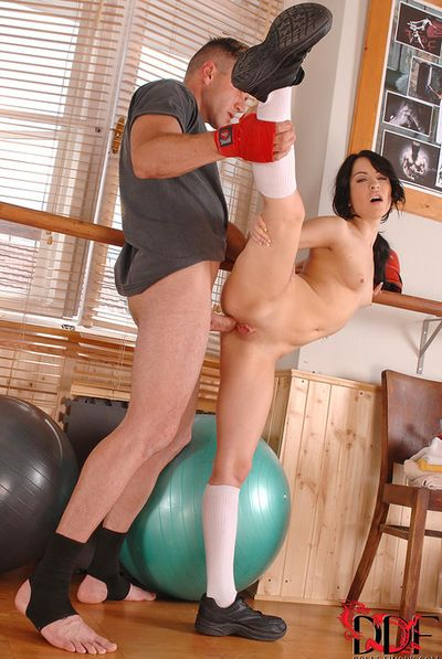 Brunette hottie Sandra Lubec gets nailed by a handful of massive dick