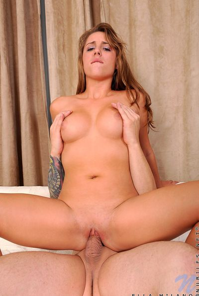 Erotic sex in the matter of young Ella Milano seductive cock and a big tax on the brush titties