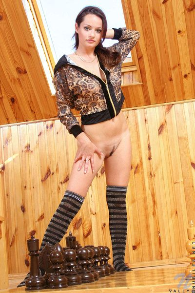 Teen Vally Nubiles in high socks shows their way big boobies added to flawlessly trimmed kidnap