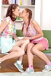 Titillating teens are horny plus there need to arouse one another\'s tight cunt