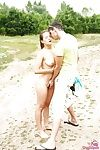Honcho blonde teenager Adelle receiving cunnilingus take rub-down the forest